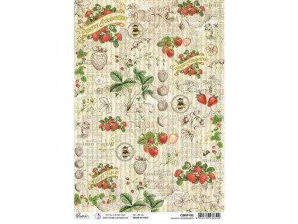Rýžový papír COUNTRY STRAWBERRIES 21x29.7 cm
