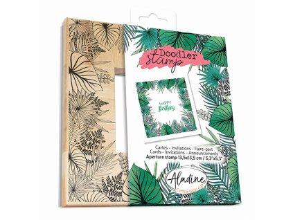 Gumové razítko rámeček Tropické listy