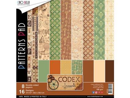 Sada oboustranných papírů Codex Leonardo 30x30cm