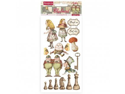 stamperia chipboard 15x30cm alice through the look