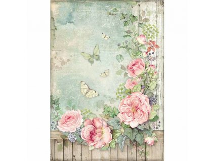 stamperia rice paper a4 roses garden with fence df