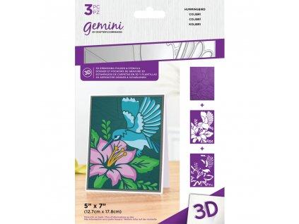 gemini humming bird 3d embossing folder stencil ge