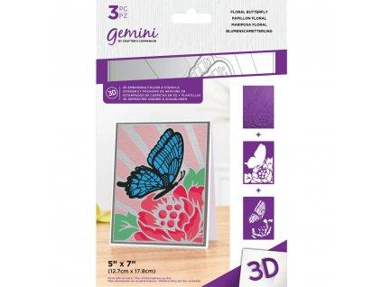 gemini floral butterfly 3d embossing folder stenci