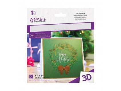 gemini rustic wreath 3d embossing folder gem ef6 3