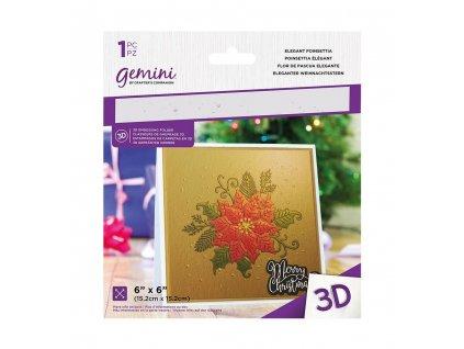 gemini elegant poinsettia 3d embossing folder gem