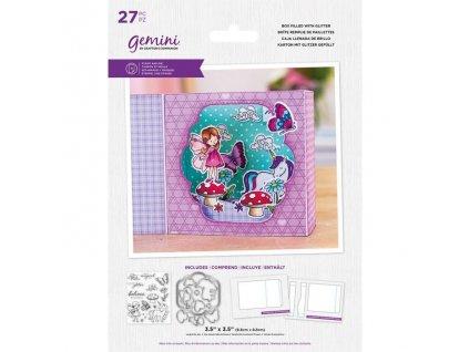 gemini box filled with glitter stamp die gem std b