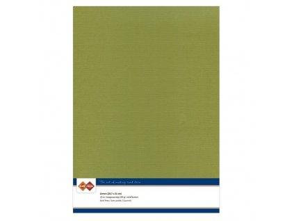 Barevný papír - texturovaná čtvrtka olivově zelená