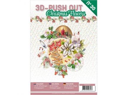 3D Výřezy a papíry v sadě Vánoční květiny 24 ks