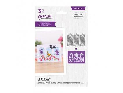 gemini triptych fairies florals elements dies gem