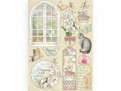 stamperia colored wooden shapes a5 window klsp087