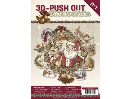 3D Výřezy a papíry v sadě Vánoční kniha 24 ks