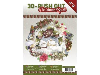 3D Výřezy a papíry v sadě Duch Vánoc 24 ks