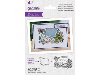 gemini sending festive wishes stamp die gem std se
