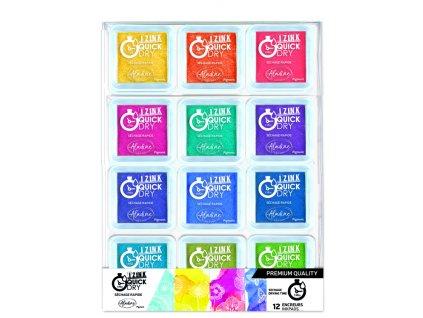 Sada Izink Quick Dry razítkovacích polštářků jasné barvy 12ks