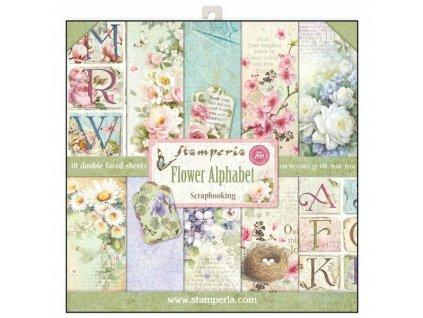 Sada oboustranných papírů Květiny a abeceda