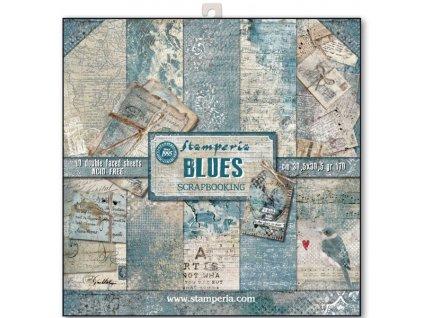 Sada oboustranných papírů Modré psaní