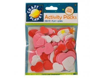 Výřezy z pěnovky Srdce růžový mix