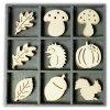 Mix dřevěných dekorací Houby, listy, veverky
