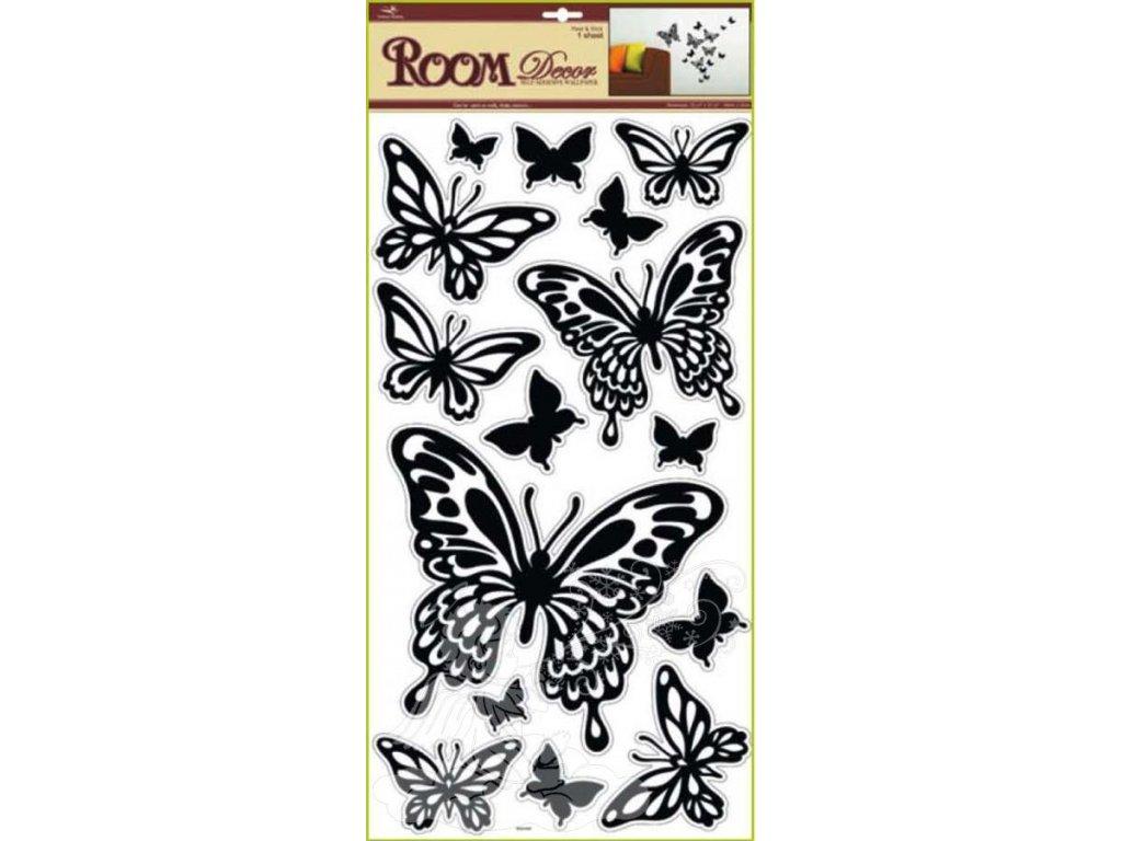 Samolepky na zeď motýli černí 1083, 69x30cm - 2 POSLEDNÍ KUSY -
