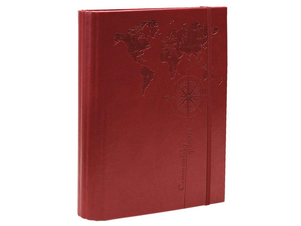 Cestovatelský zápisník - vivella - bordó BU036 3