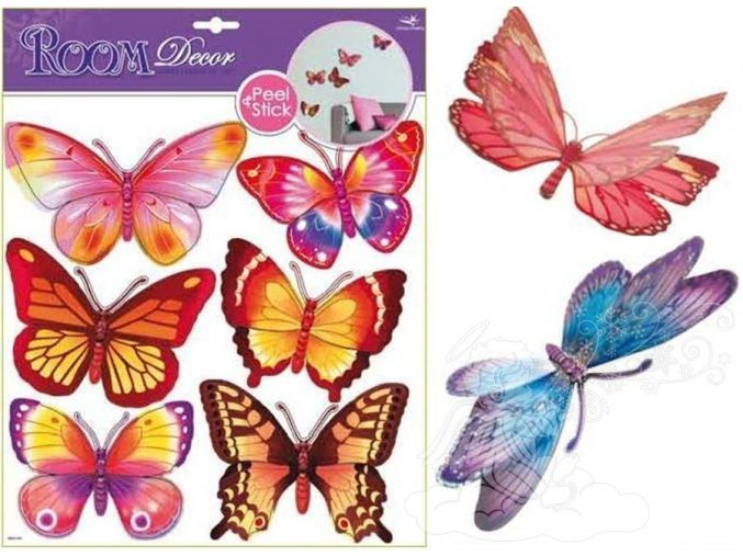 Samolepky na zeď motýlci žlutí a růžoví hologramem 1075, 39x30cm