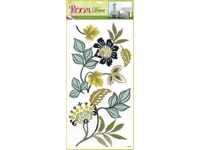 Samolepky na zeď květy v odstínu khaki 1081, 69x30cm