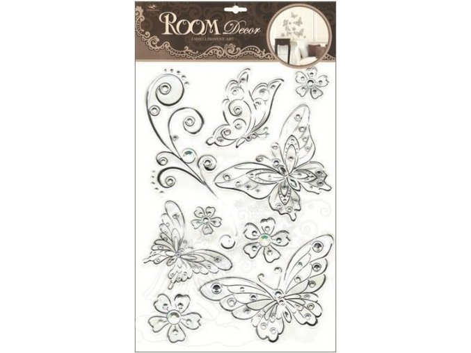 Samolepky na zeď motýli se stříbrnou konturou a kamínky plastická 1095, 49x29cm