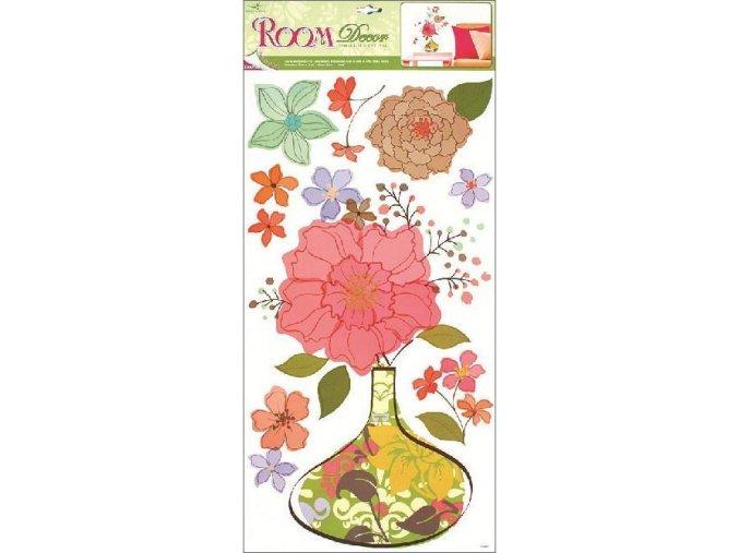 Samolepky na zeď květovaná váza 1033, 69x32cm