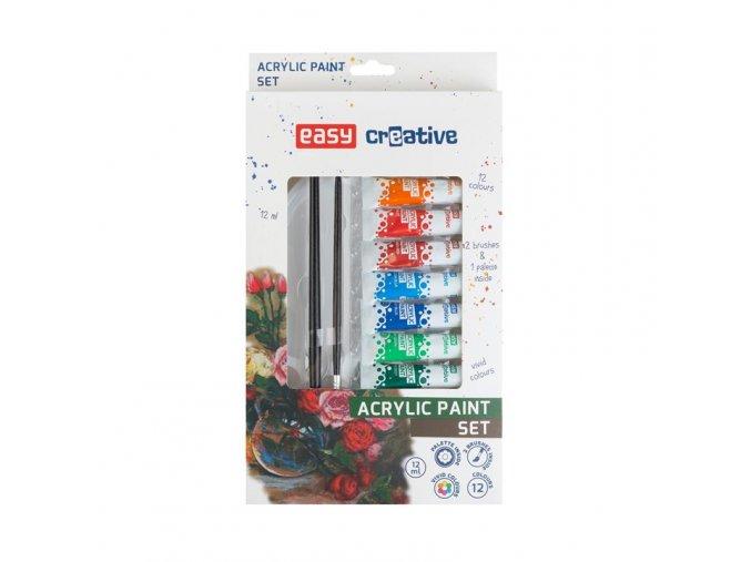 Akrylové barvy SET - 12 barev, 2 štětce, paleta