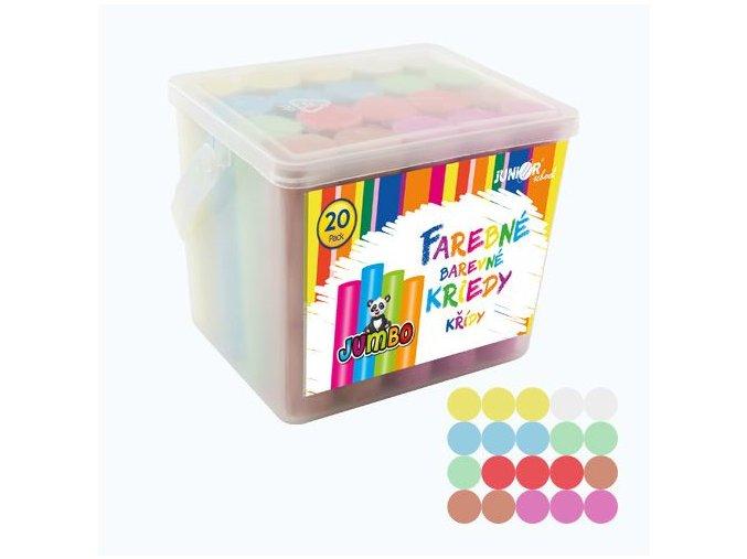 Křídy barevné/chodníkové, kulaté 20 ks - plastový box