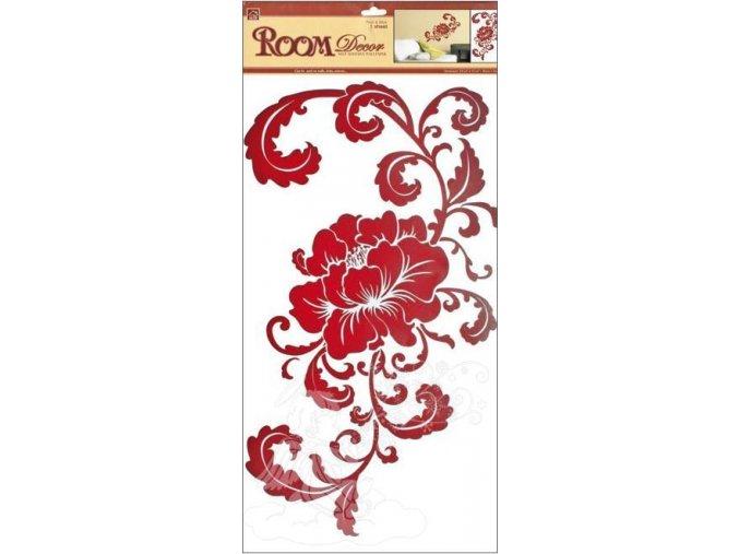 Samolepky na zeď květ hnědý s ornamenty 589, 69x32 cm - 2 POSLEDNÍ KUSY -