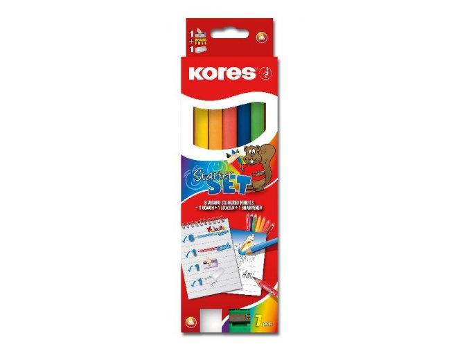 Pastelky Kores trojhranné JUMBO Starter set s ořezávátkem + Coach tužka
