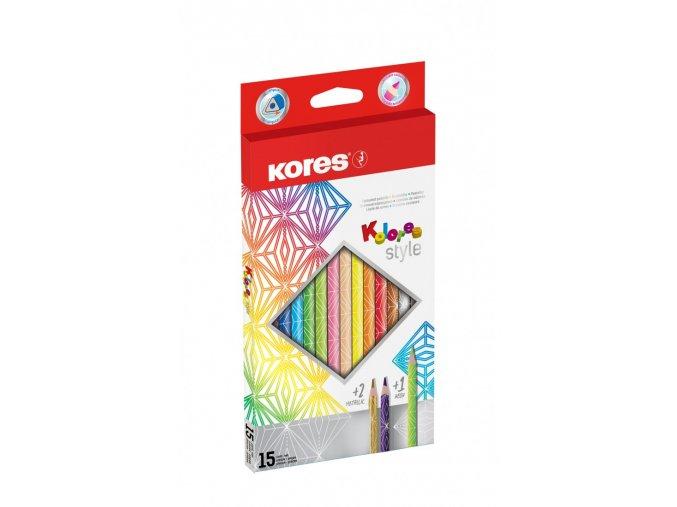 Trojhranné pastelky Kolores Style 3mm 15 ks Kores