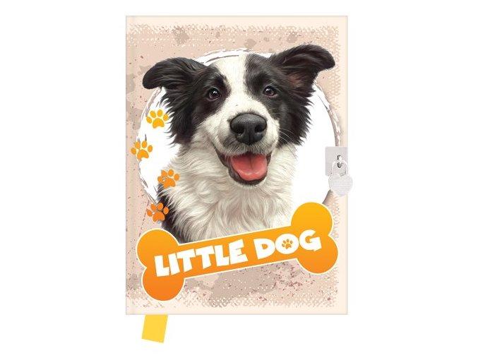Památník 14x18 cm, 80 l., čistý se zámkem Little dog