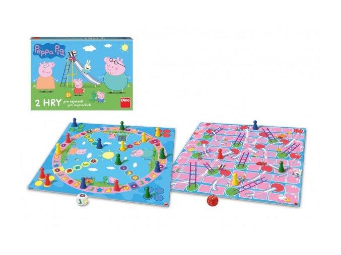 Pojď si hrát/Žebříky a skluzavky 2 společenské hry Prasátko Peppa/Peppa Pig v krabici 33x23x3cm