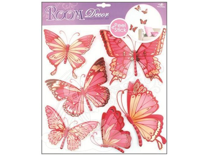 Samolepky na zeď motýli růžoví s pohyblivými křídly 655, 30x30cm