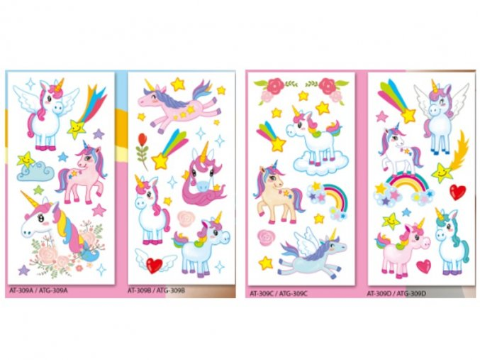 Obtisky vodové barevné dětské 9x19cm-09 unicorn