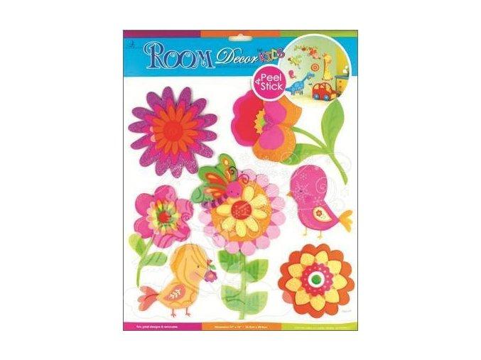 Samolepky na zeď květinky z tvrdého papíru 689, 31x29 cm