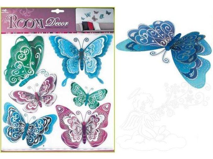 Samolepky na zeď motýli modrofialoví s hologramem 695, 39x30 cm