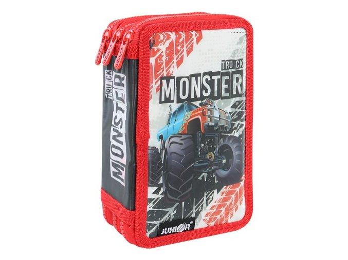 Penál plátěný prázdný - 3 patrový, 31 dílný - Seria 4 - Monster Truck