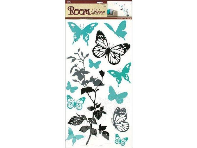 Samolepky na zeď černošedá s tyrkysovými motýli 1030, 69x32cm