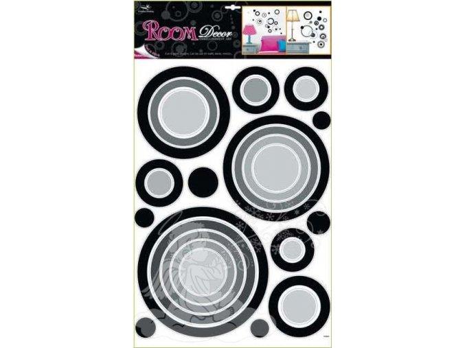 Samolepící pokojová dekorace na zeď černé kruhy 1056, 70x42cm - 2 POSLEDNÍ KUSY -