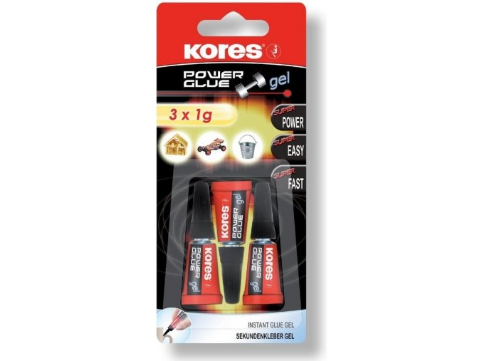 Vteřinové lepidlo Kores Power Glue Gel 3x1g