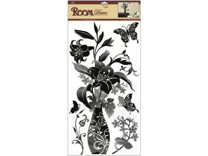 Samolepky na zeď černá váza s lilií 1320, 69x32cm - 2 POSLEDNÍ KUSY -