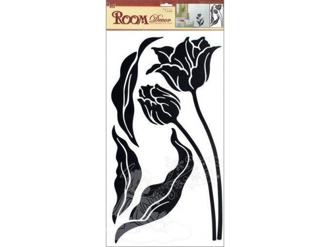Samolepky na zeď tulipány černé 574, 69x32 cm