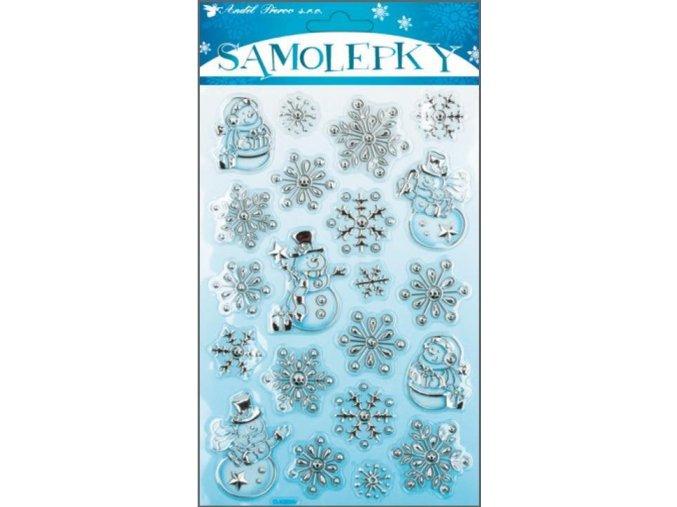 Samolepky plastické sněhuláčci stříbrno-modré 10003, 25x14cm