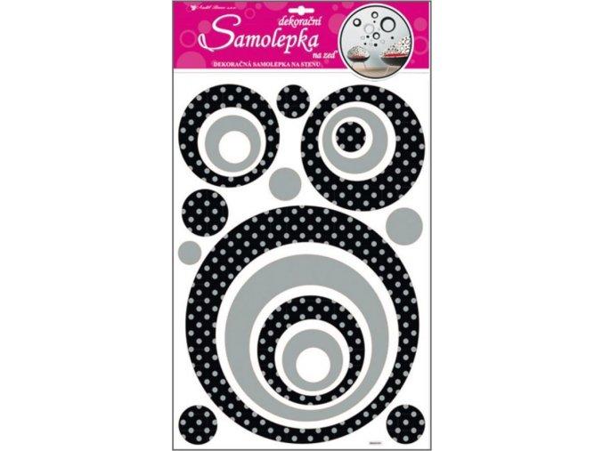 Samolepky na zeď kruhy se stříbrnými glitrovými puntíky 10011, 60x32cm - 2 POSLEDNÍ KUSY -