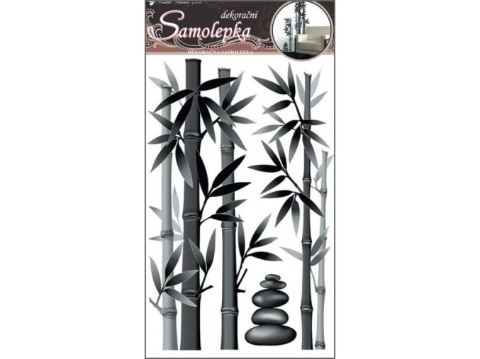 Samolepky na zeď bambus šedý 10015, 60x32cm
