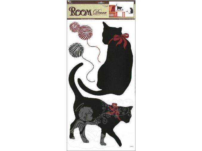 Samolepky na zeď kočky černé 937, 69x32cm