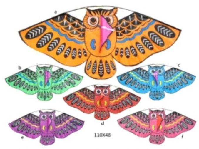 Létajicí drak Sova 120x145 cm nylon